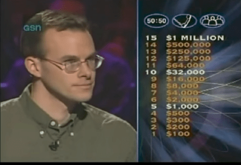 In November of 1999, John answered all 15 questions correctly without using a single lifeline. On the final question, he pretended to use a lifeline to call his dad to tell him he won the million.
