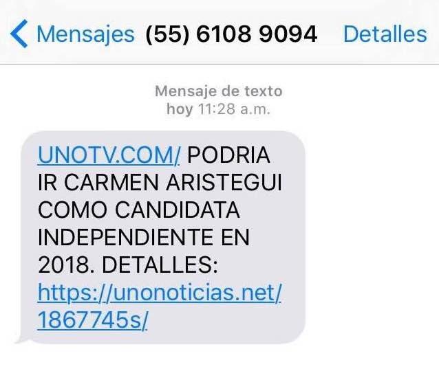 Uno de los mensajes que Emilio, hijo de Carmen Aristegui, recibió el 23 de mayo de 2016. Un SMS similar fue recibido por otros miembros del equipo de Aristegui.