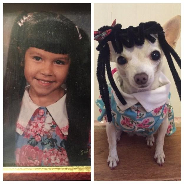 Like her older sister's kindergarten yearbook photo.