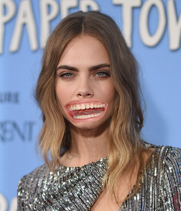 Cara Delevingne with Julia Roberts' mouth!