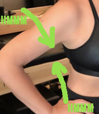 The whole picture has that signature FaceTune glow, and if you notice around her extended arm, the bump in the bench and the pixelation area around her bicep seems to indicate the picture probably was photoshopped.