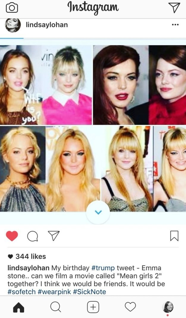 Lindsay followed up her request with an Instagram showing how the two ginger ladies kinda look alike. That post has since been deleted, but, well, here's a screenshot for you to print, frame, and put on your mantle ASAP: