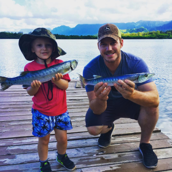 Chris Pratt had some father-son fishing time.