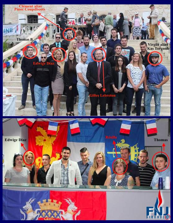 Julie Rechagneux est en blanc au milieu sur la première photo. Elle est en noir au milieu sur la seconde.