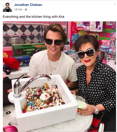 """BUT YOU'D BE WRONG. Here's a picture of Jonathan with Kris Jenner enjoying a huge-ass sundae. Notice his caption: """"Everything and the kitchen thing with Kris."""""""