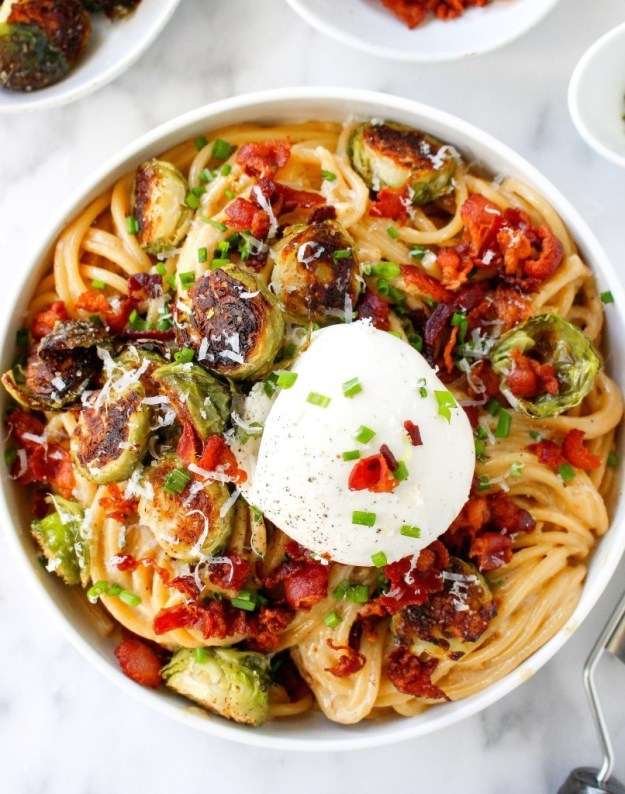 Caramelized Onion Carbonara With Brussels Sprouts and Burrata