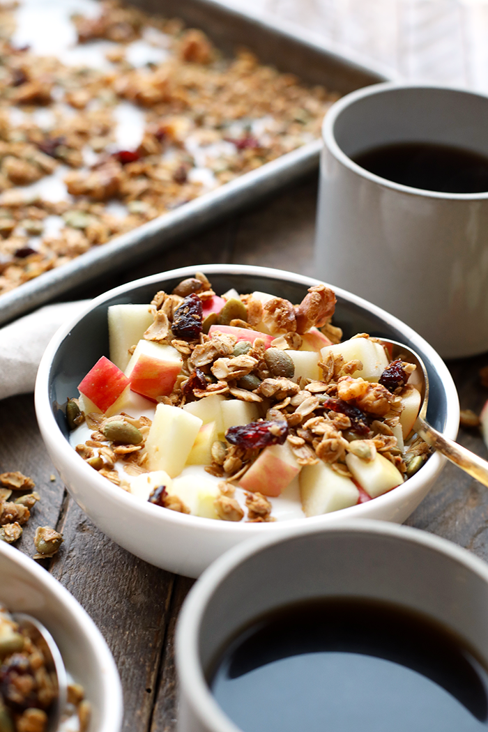 A Greek yogurt base + fruit + granola = a whole bowl of goodness. Recipe here.Protein: 21g