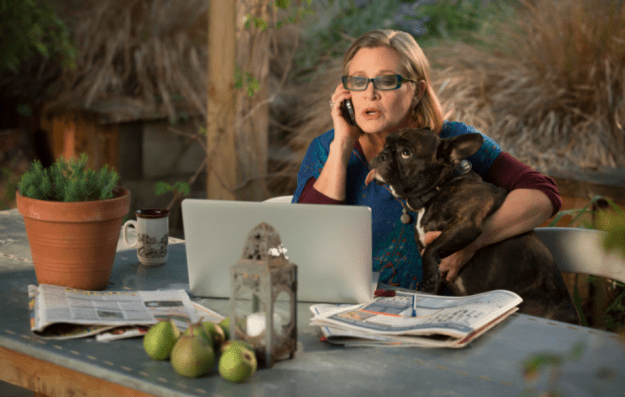 Fisher died in December 2016, but before her death she filmed a guest role on the third season of Amazon's Catastrophe. She played Mia, Rob's (Rob Delaney) mother.