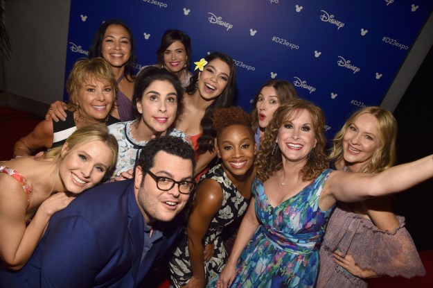 The princess party continued backstage after the announcement. Somehow Josh Gad got invited in for a pic.