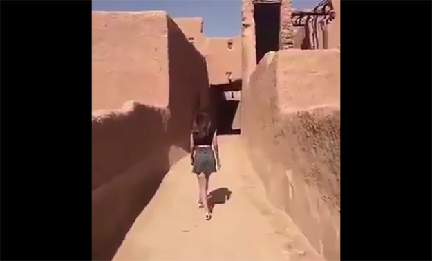 Over the weekend, a Saudi woman uploaded a video of herself on Snapchat, which showed her walking around a historic fort in a village north of the capital, Riyadh, while wearing a crop top and a miniskirt.