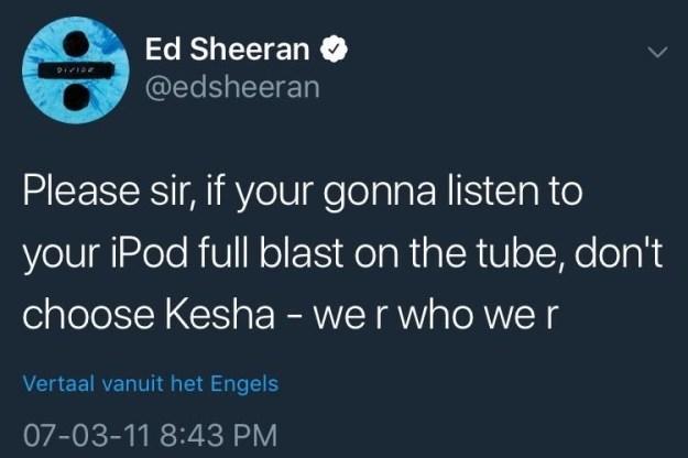 Last week, Ed Sheeran deleted this tweet from 2012 about Kesha.