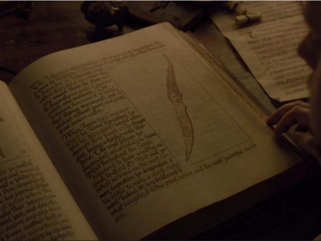 He's there to find out as much as he can to help in the fight against the White Walkers. So far he hasn't been very successful – or so he thinks. Because there was a shot of a VERY interesting dagger in the book Sam was reading.