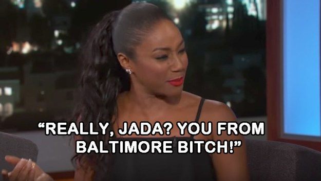 """When Will and Jada hopped into Tiffany's rental car and Will was excited to be in a regular car for the first time in years, but Jada didn't feel """"safe"""" because the windows weren't tinted:"""