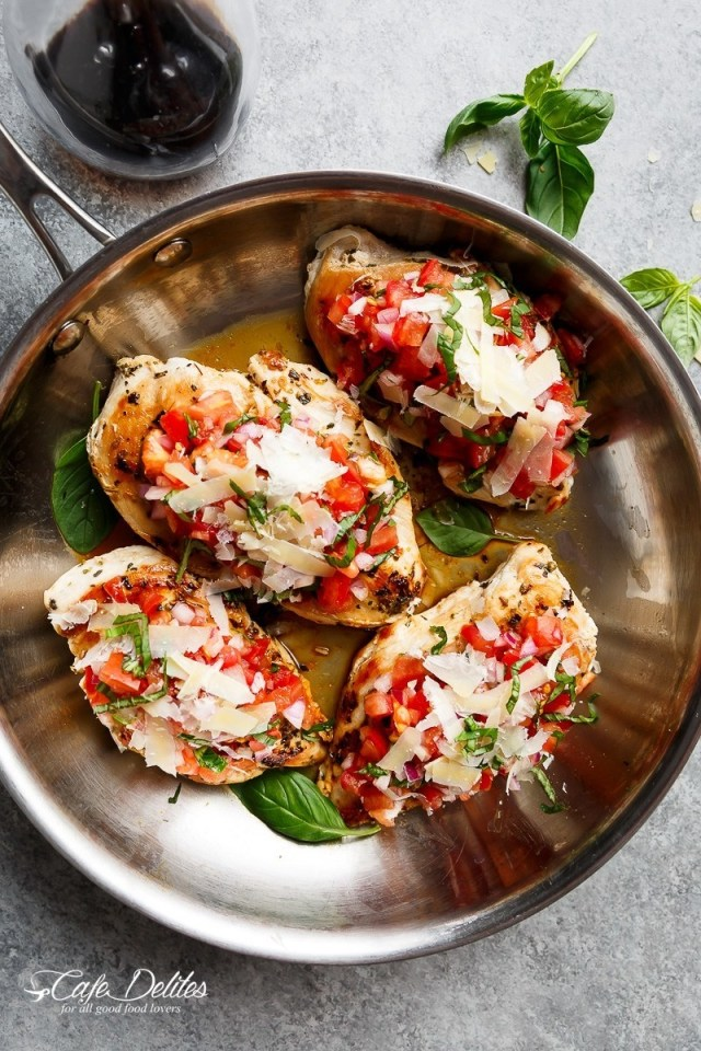 This breadless version of bruschetta turns the classic appetizer into a low-carb dinner by swapping crostini with boneless chicken breasts. Get the recipe here.