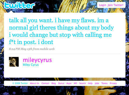 There are a few original screenshots of these long forgotten Miley tweets like this one...
