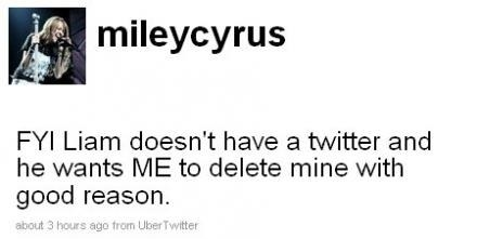 On October 8, 2009, nearly seven months later, Miley deleted her Twitter and ALL of her tweets with this last goodbye: