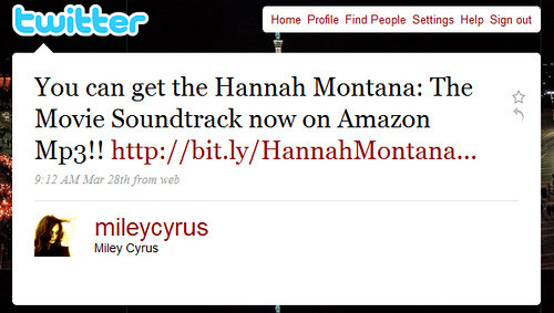 On March 28, 2009, Miley Cyrus joined Twitter with this tweet: