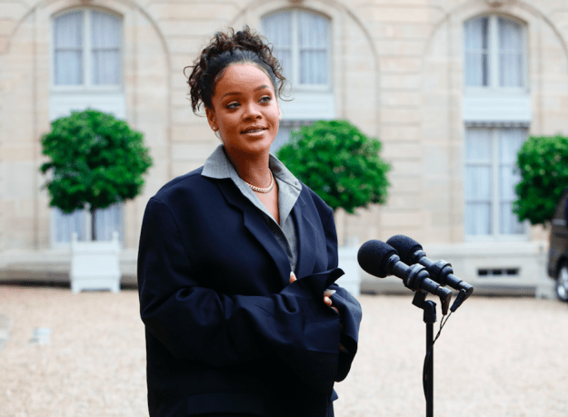 Rihanna & Macron met to speak about plans to support education worldwide — a cause Rihanna is passionate about.