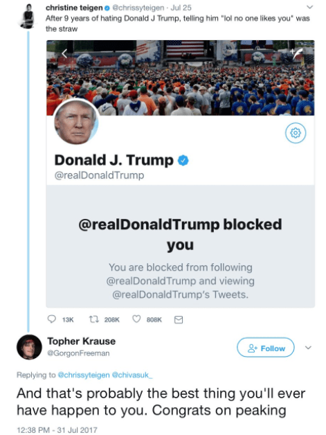 Well, she proved her clapback skills on Monday when a troll said Donald Trump blocking her was the best thing that'll ever happen to her.