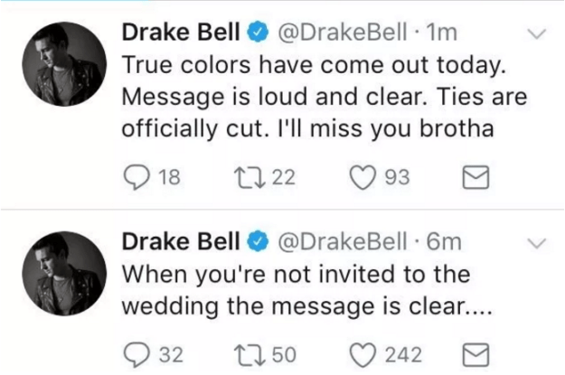 The following day shit hit the fan when it became apparent that Drake from Drake and Josh was not invited to Josh from Drake and Josh's wedding, and he was not at all pleased about it.