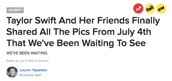 Taylor Swift's annual 4th of July party is big news. Every year all of us uglies wait in anticipation for Taylor and her rich-ass friends to upload a shit-ton of pics on all of their Instagram accounts. It's like a party for the 1% on speed and skim lattes.