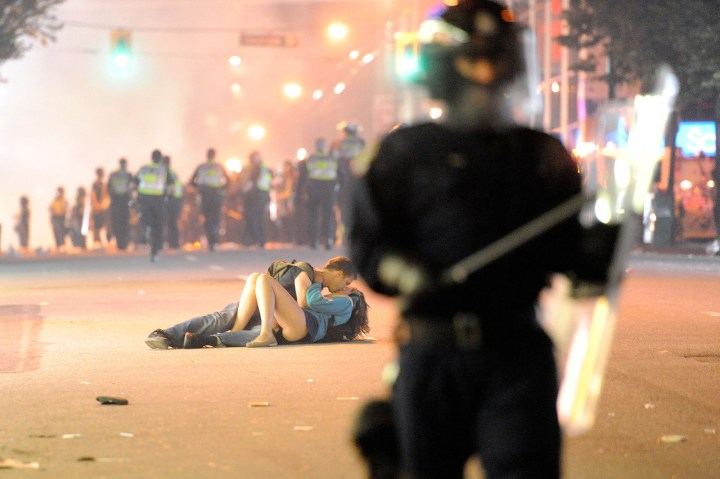2. This couple caught up in the Vancouver riots following the city's loss in Game 7 of the Stanley Cup Final in 2011: