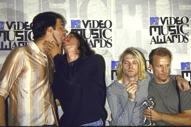 12. Nirvana drummer David Grohl going all in with bassist Krist Novoselic during the 1993 MTV Music Video Awards: