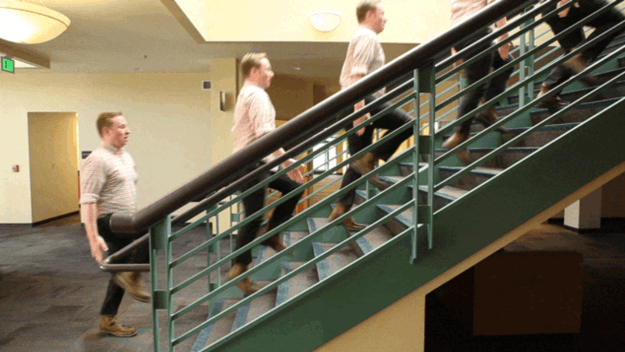 You could commit to taking the stairs instead of the elevator at work or school.