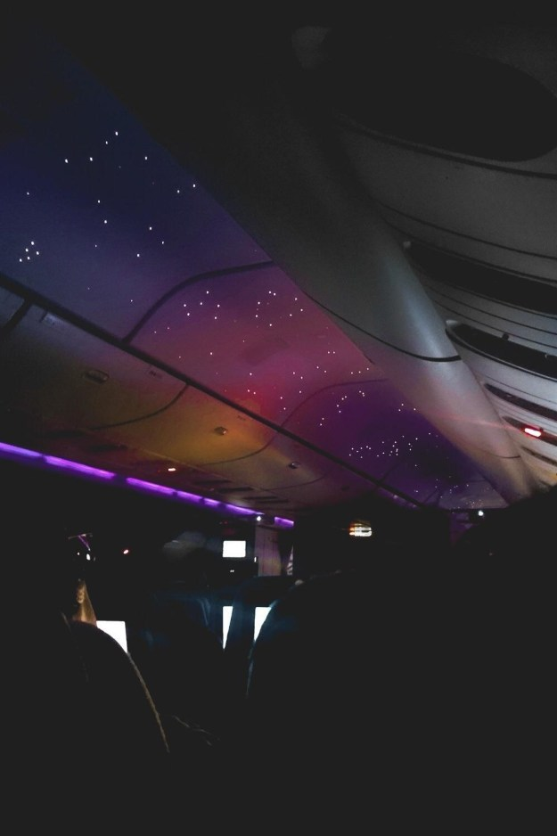 This simulated night sky on a red-eye flight.