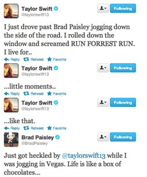 """That time she taunted Brad Paisley with his own song (he has a song called """"Little Moments"""")."""