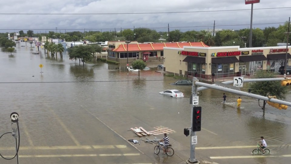 U.S. Route 59 and West Bellfort Avenue in Houston, Aug. 27.