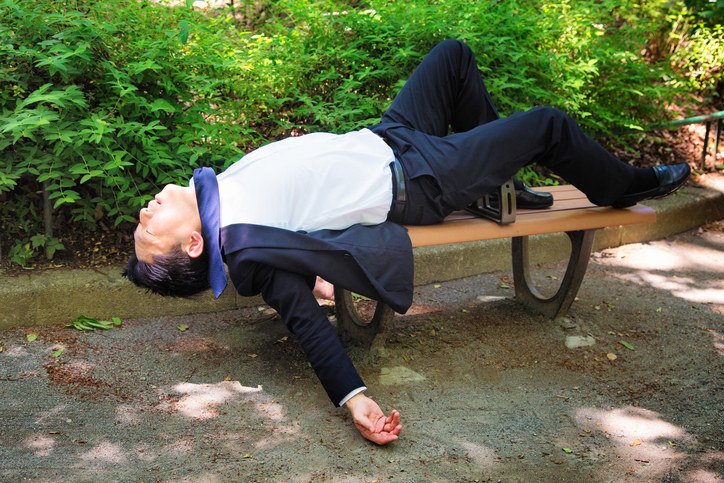 Businessmen, or, in Japanese, salarymen, love to drink. Just walk around any major station late at night, and you can see many of them passed out on the ground. FYI Japan is a very safe place, so they don't need to worry much about being mugged.