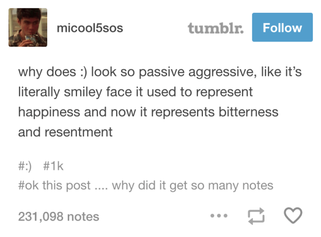 About the :) face:
