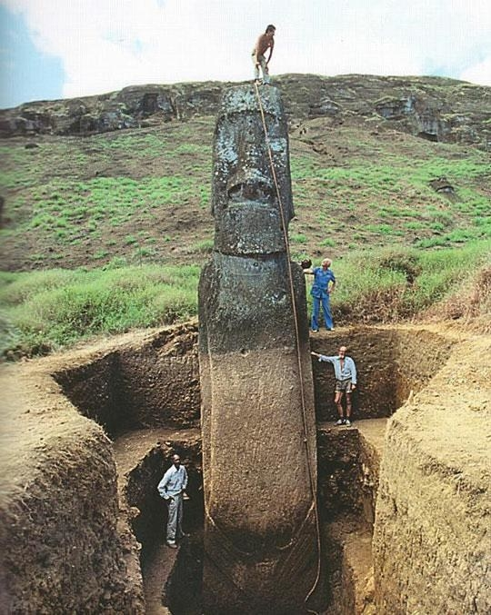 The Easter Island moai statues actually have full bodies underneath the ground.
