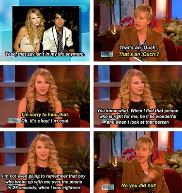 When baby Tay was on Ellen and called out Joe Jonas for breaking up with her over the phone.