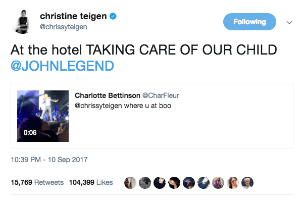 While John was performing, Chrissy stayed at the hotel to take care of Luna.