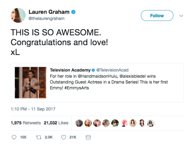 And her former TV mama was so excited and proud when she learned the news: