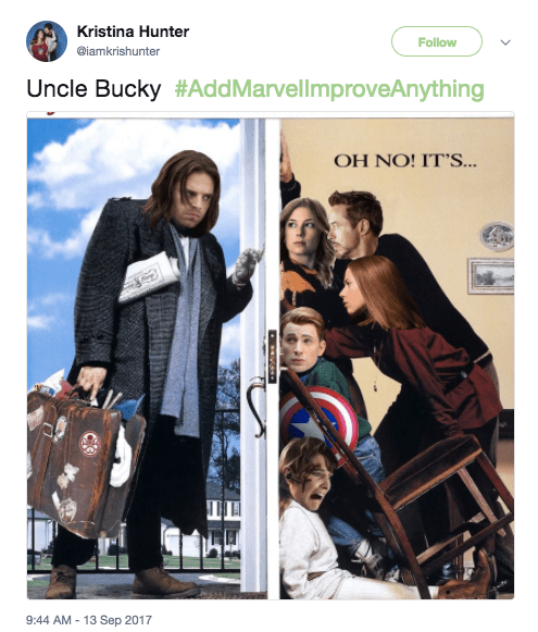 Guys, SotallyToberHashtags challenged people this week with the hashtag #AddMarvelImproveAnything, and the hilarious results are in: