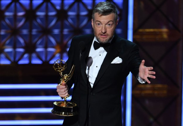 """Charlie Brooker – who's gone from PC Zone magazine writer to Netflix writer and showrunner, via stints as a Guardian columnist, a BBC Four presenter, and a Channel 4 drama writer – is now also a double Emmy winner for Black Mirror's """"San Junipero""""."""