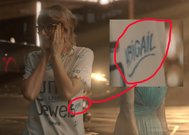 """Abigail even earned some prime real estate on Taylor's t-shirt in her """"Look What You Made Me Do"""" video — an honor typically reserved for the likes of SELENA GOMEZ and ED SHEERAN!"""