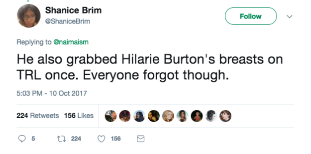 "It also started a conversation about Affleck's general treatment of women. Twitter user @ShaniceBrim tweeted that Affleck ""grabbed Hilarie Burton's breasts on TRL once. Everyone forgot though."""