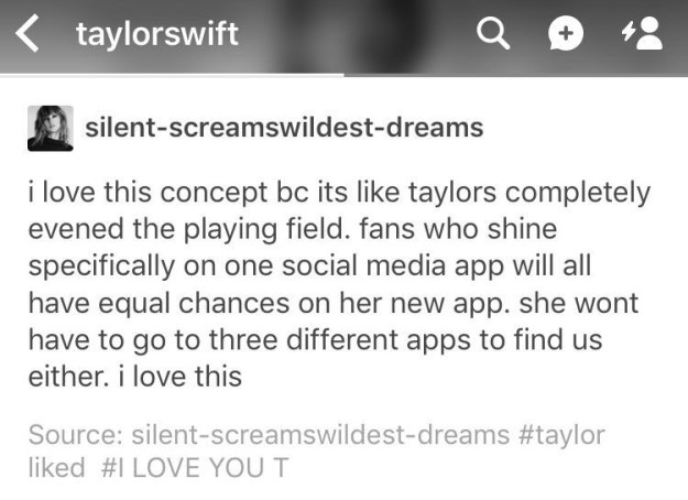 Taylor's already liked this post approximately The Swift Life on Tumblr.