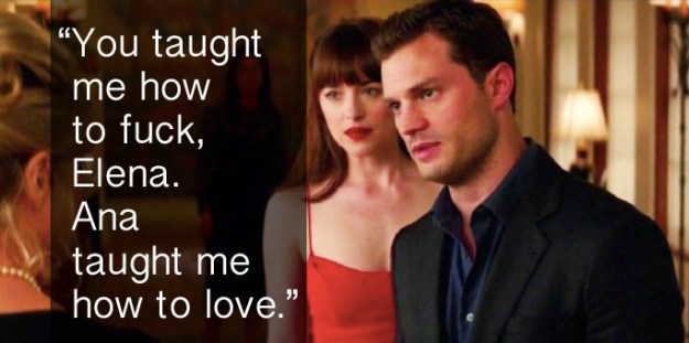 When Christian Grey was breaking down the differences between Elena and Ana in Fifty Shades Darker.