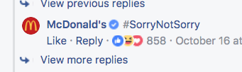 Although, LOL, McDonald's...