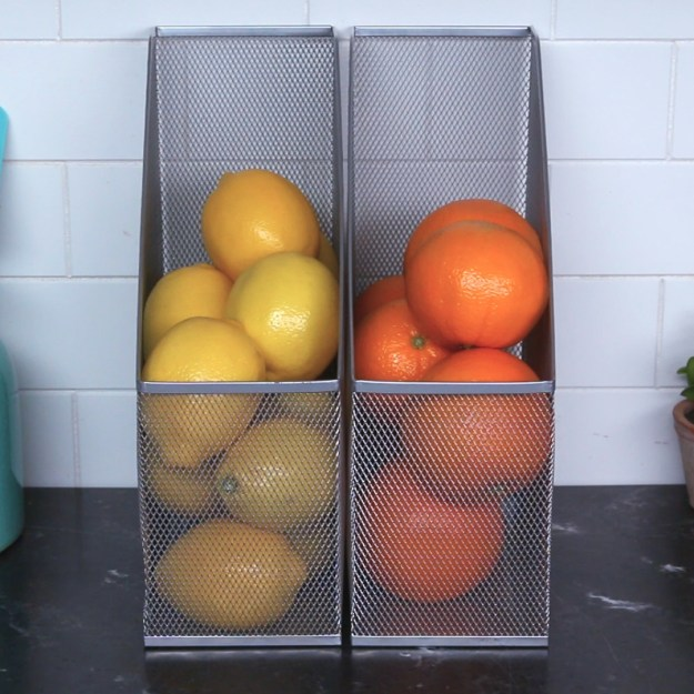 Maybe, in your kitchen, you file your produce away in magazine holders, so it doesn't take up too much counter (or pantry) space.