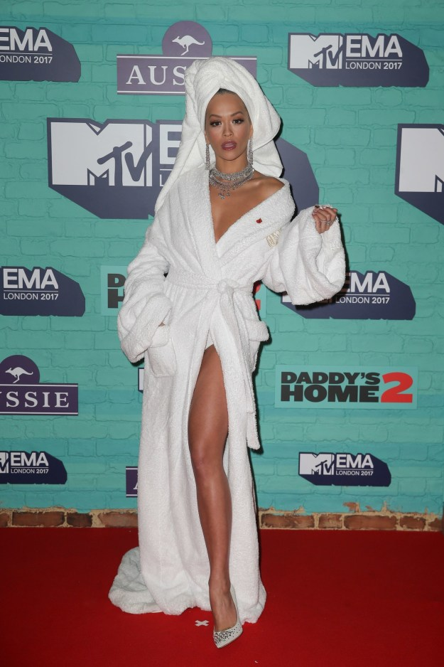 Rita Ora is the host of tonight's MTV EMA awards in London, so she turned up on the red carpet like this.