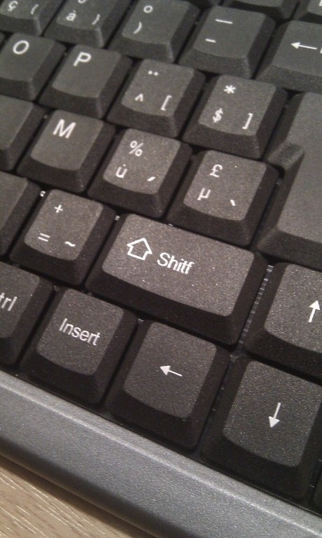 "And whoever forgot to spellcheck this ""shitf"" key."