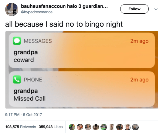 And this grandpa, who dragged his grandson for bailing on bingo: