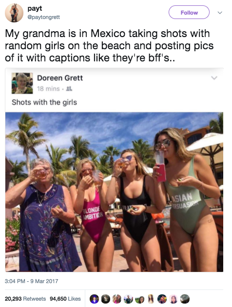 "This grandma, who posted a pic of her taking ""shots with the girls."""