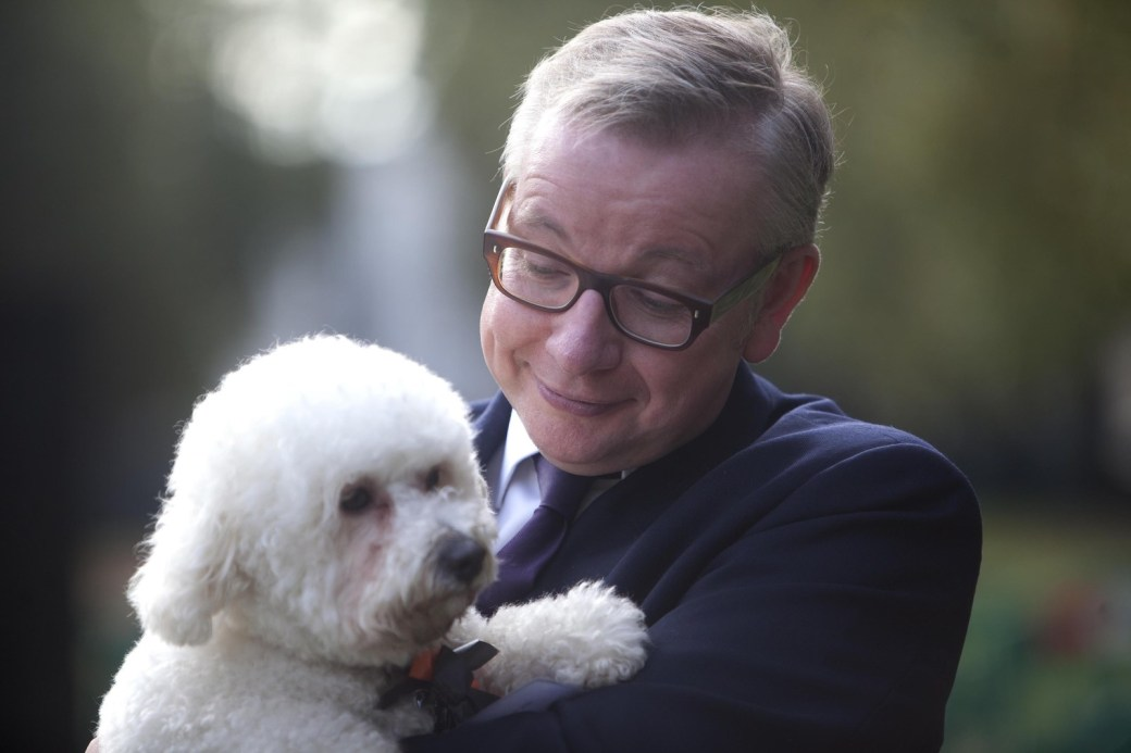 Environment secretary Michael Gove MP with his Bichon Frise, Snowy.